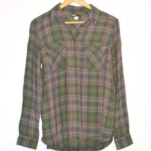 BDG Green and Black Long Sleeve Plaid Top